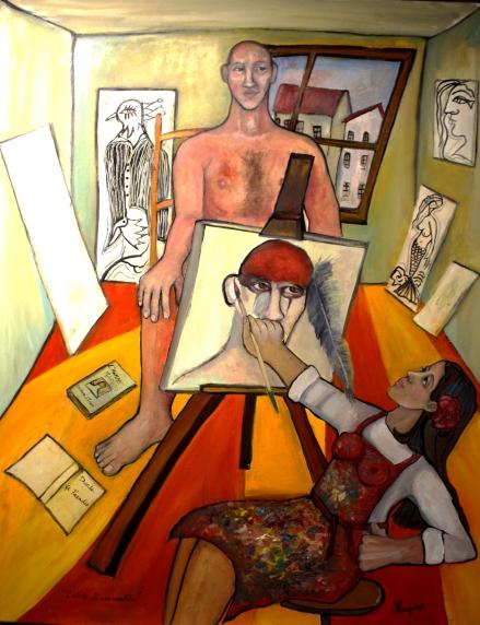 """""""l'artiste et son modèle"""" Huile sur toile 122 X 91 cm, 48""""X36"""""""